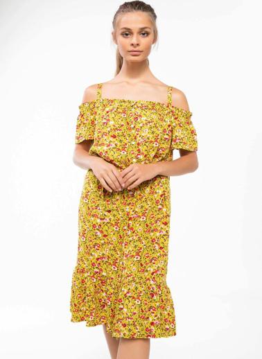 DeFacto Kat Volanlı Çiçek Desenli Askılı Elbise Sarı